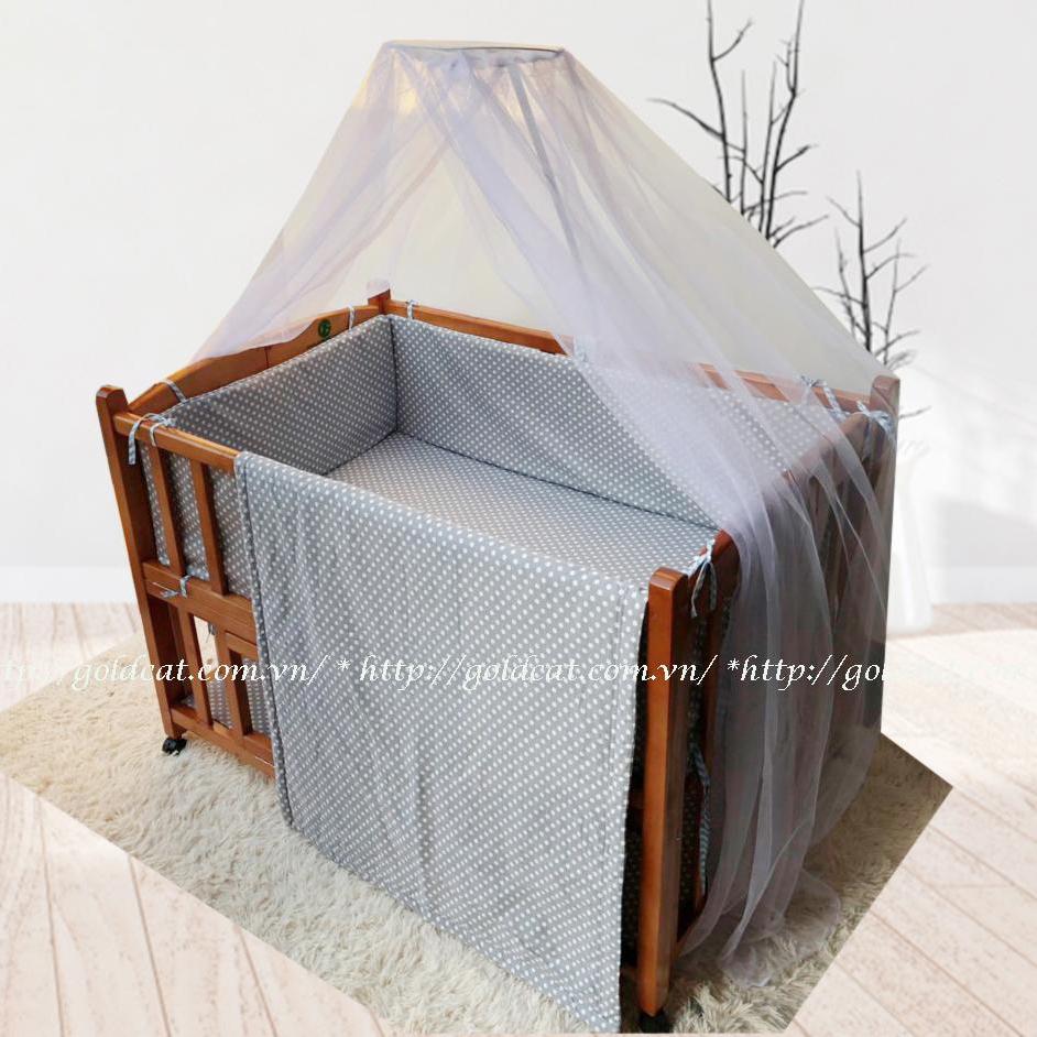 Combo cũi giường 2 giát GoldCat (Ghi chấm bi, Sơn Cánh Gián)