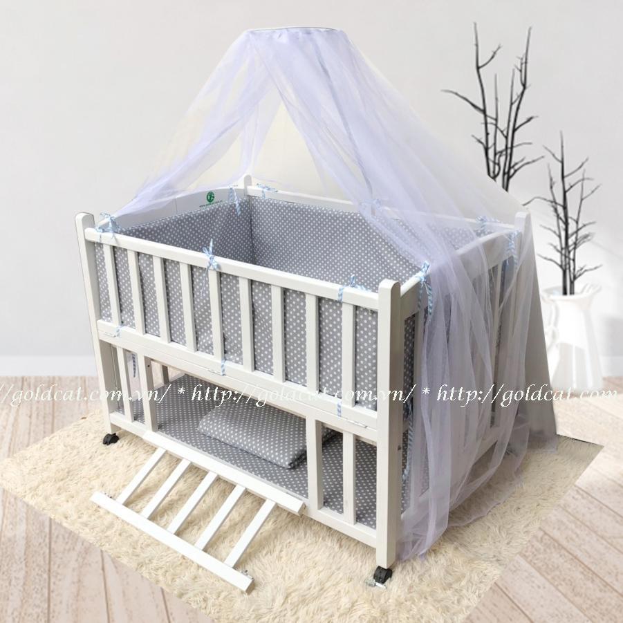 Combo cũi giường 2 giát GoldCat (Ghi chấm bi, Sơn Trắng)