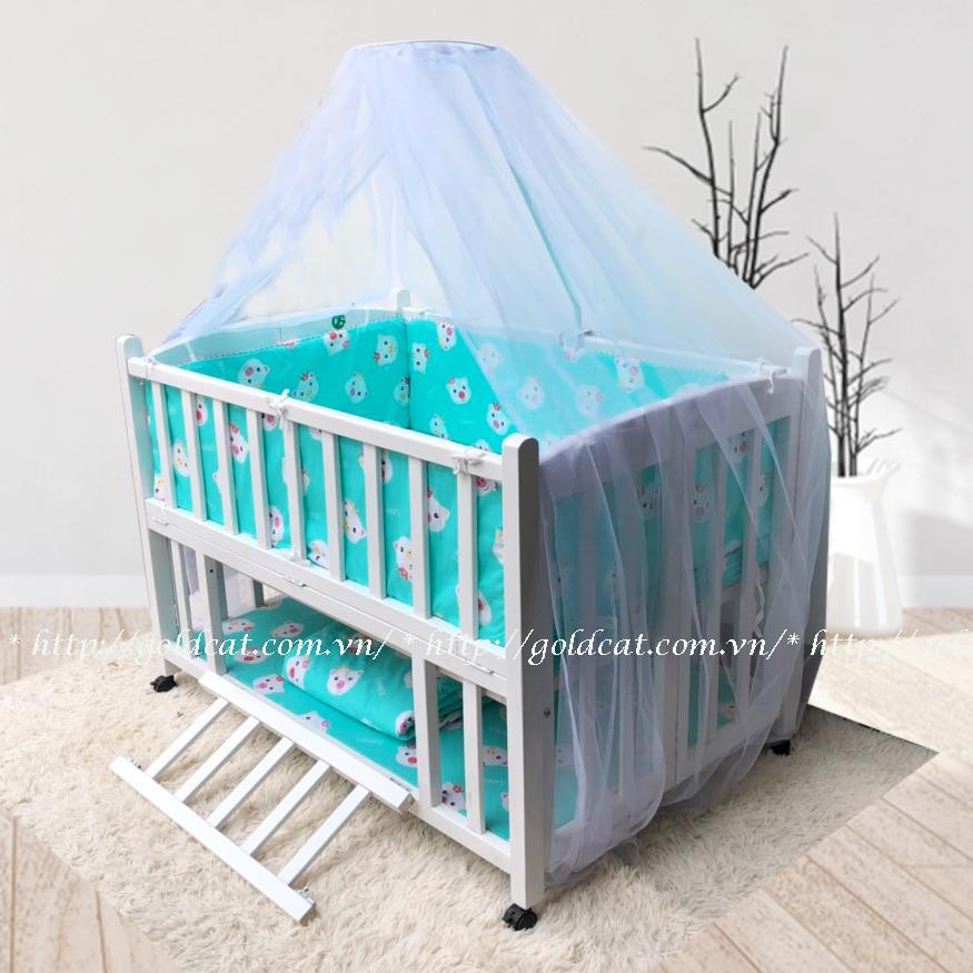Combo cũi giường 2 giát GoldCat (Heo Xanh, Sơn Trắng)