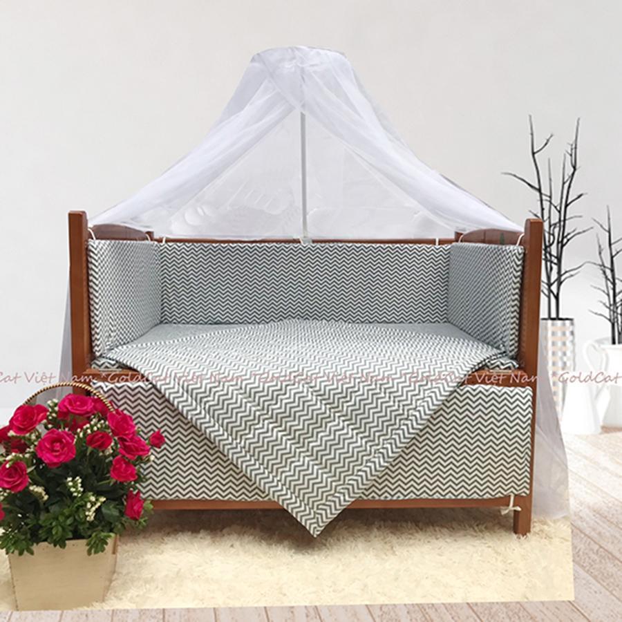 Combo cũi giường Cánh Gián GoldCat (Zích Zắc Ghi, Không bánh xe)