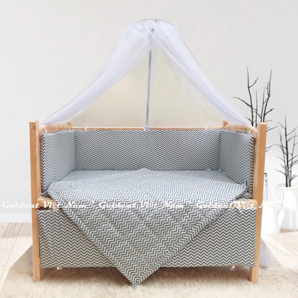 Combo cũi giường Quế Mộc Goldcat (Zích Zắc Ghi, Không bánh xe)