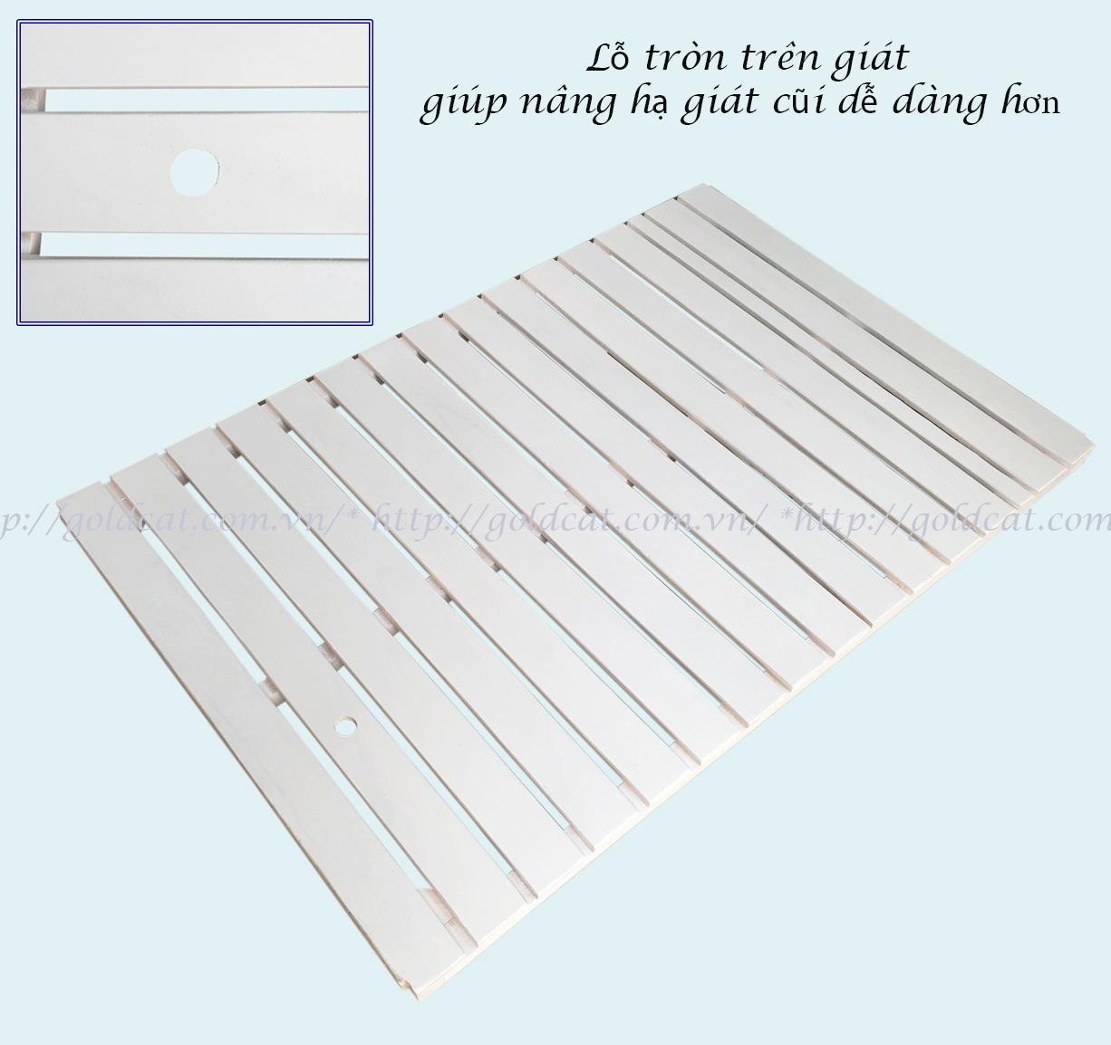 Combo cũi giường Sơn Trắng GoldCat (Zích Zắc Hồng, Không bánh xe)