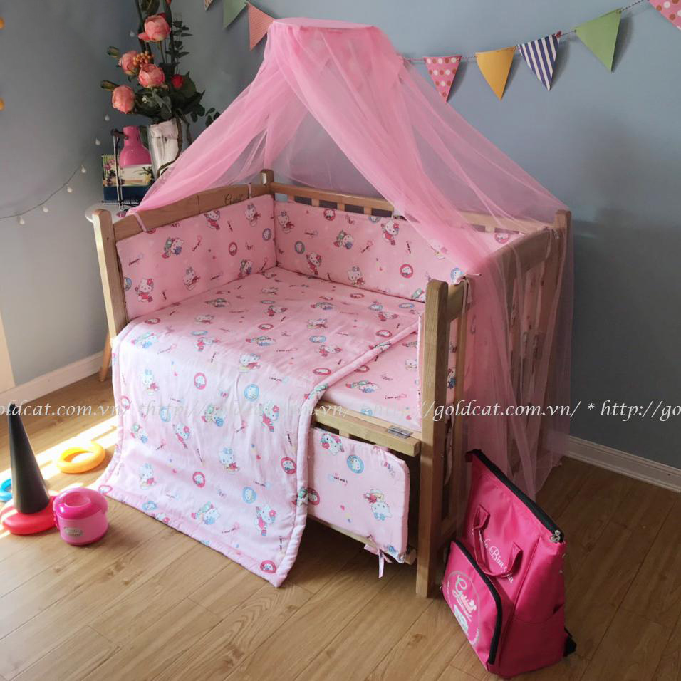 Combo cũi giường gỗ Sồi Goldcat (Hồng kitty, Không bánh xe)