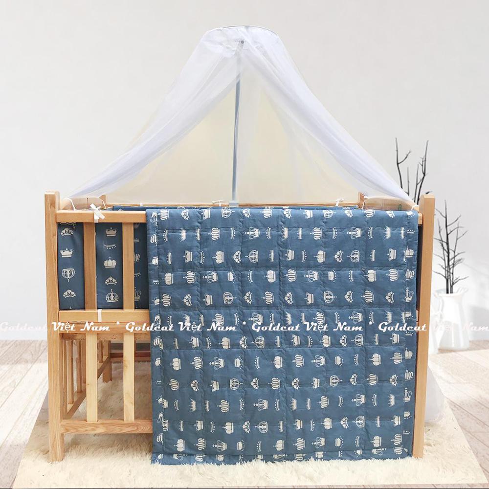 Combo cũi giường gỗ Sồi Goldcat (Vương Miện Ghi, Không bánh xe)