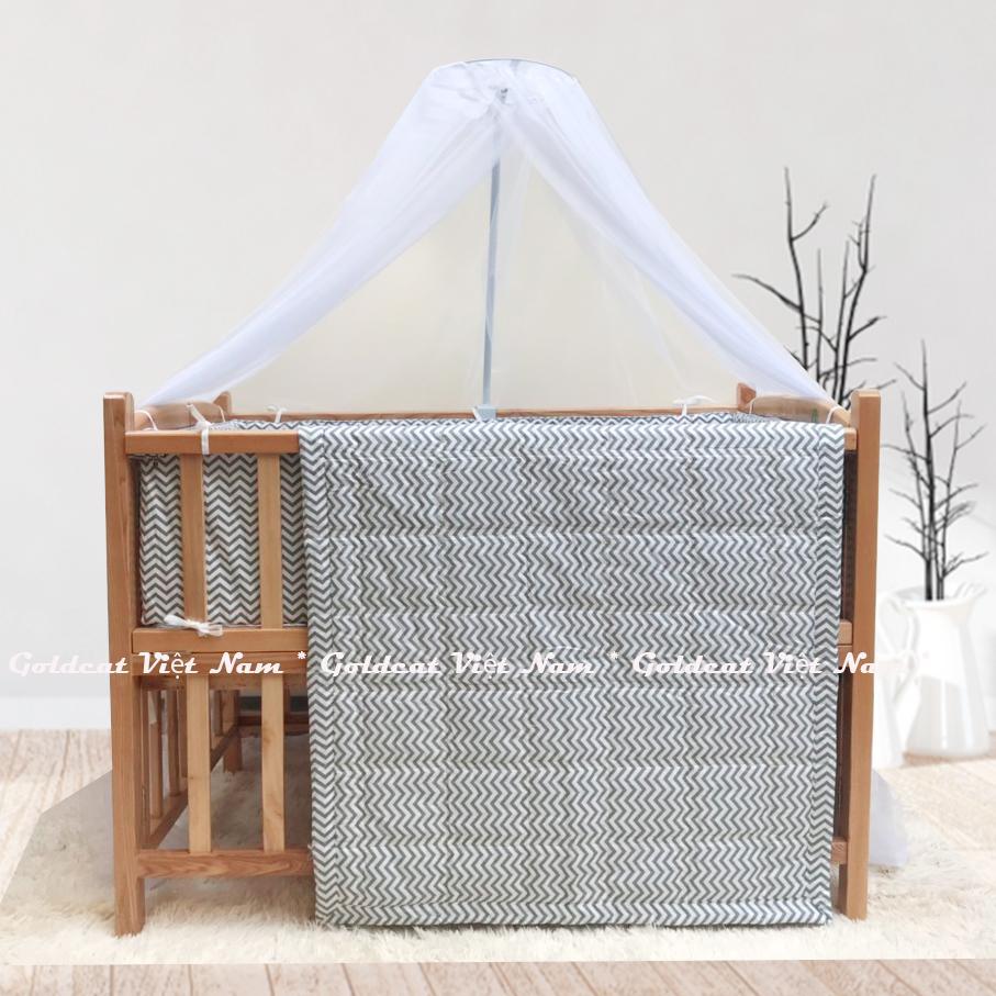 Combo cũi giường gỗ Sồi Goldcat (Zích Zắc Ghi, Không bánh xe)