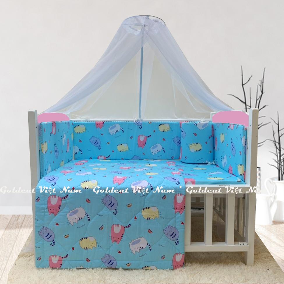 Combo cũi giường sơn Trắng Hồng GoldCat (Mèo Béo Xanh, Không bánh xe)