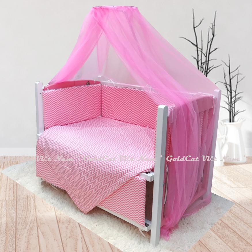 Combo cũi giường sơn Trắng Hồng GoldCat (Zích Zắc Hồng, Không bánh xe)