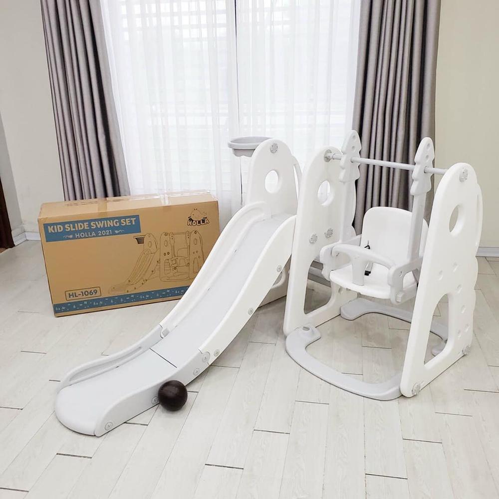 Combo cầu trượt xích đu Holla 2021 màu trắng