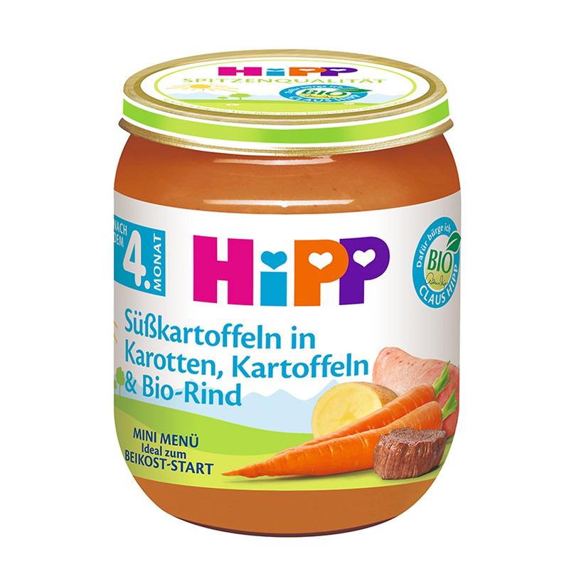 Dinh dưỡng đóng lọ HiPP 125g thịt bò, khoai tây, cà rốt, khoai lang (từ 6 tháng) 6090ET