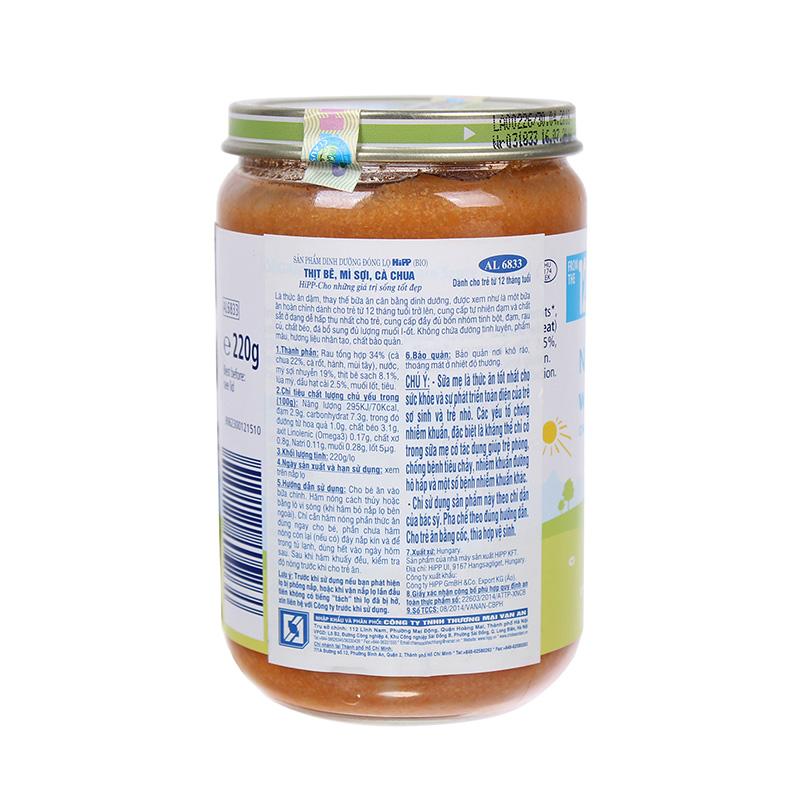 Dinh dưỡng đóng lọ HiPP Thịt bê, Mì sợi, Cà chua 220g (Trên 12 tháng) AL6833