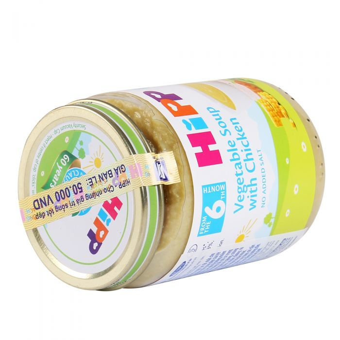 Dinh dưỡng đóng lọ Hipp súp rau thịt gà rau, tổng hợp 190g (Trên 6 tháng) AL7973