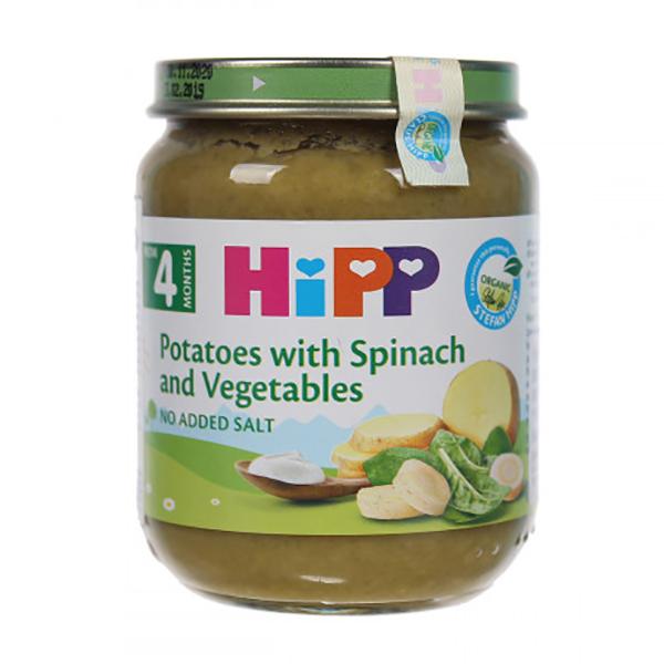 Dinh dưỡng đóng lọ Rau chân vịt, khoai tây và sữa Hipp 125g