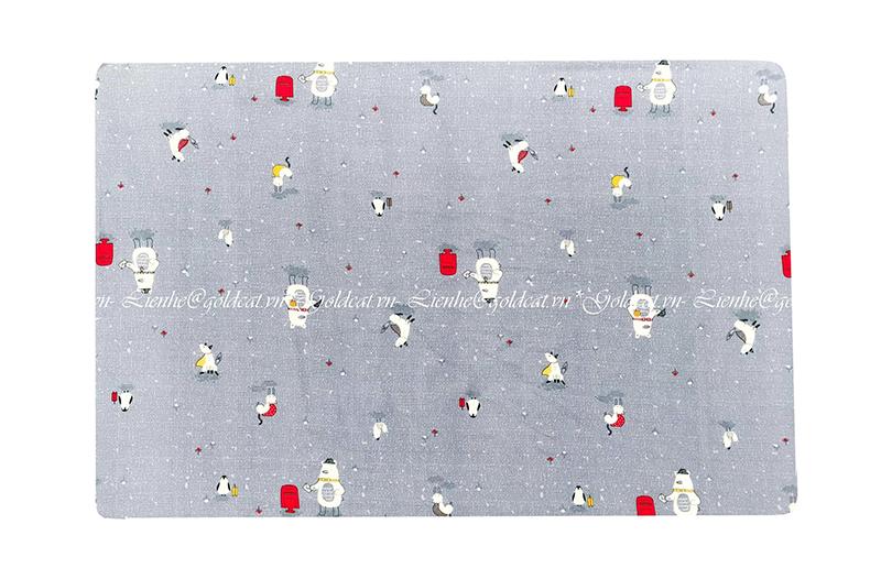 Ga vải bọc đệm cũi cho bé- Chất liệu Thô lụa (Nhiều con vật, 72x110)