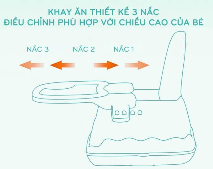 Ghế ăn dặm Hanbei có bánh xe màu nâu