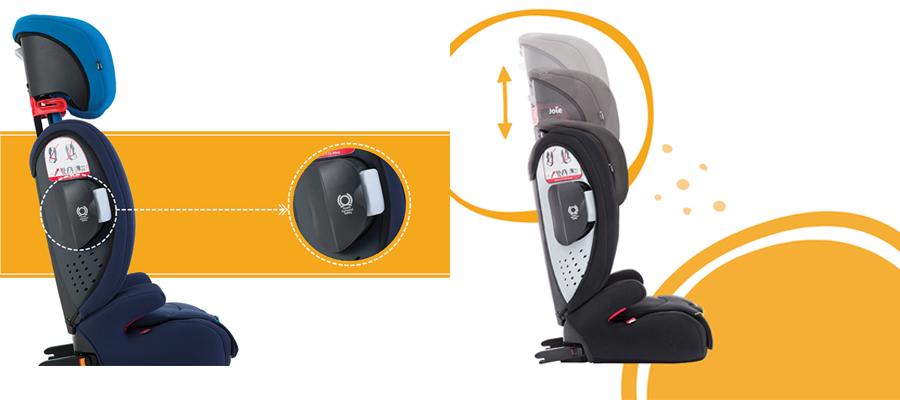 Joie Duallo Caribbean trang bị tấm bảo vệ Guard Surround Safety™, có 11 vị trí điều chỉnh đệm đầu