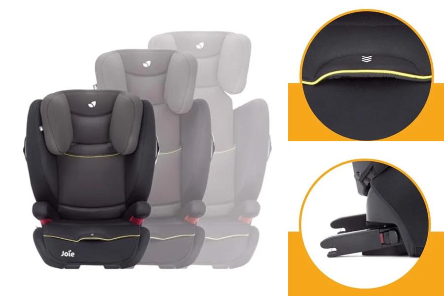 Joie Duallo Caribbean còn có 2 bên ghế tự động mở rộng khi vùng đệm đầu được nâng cao lên, điều chỉnh độ sâu 3 vị trí, kết nối ISOFIX dễ dàng