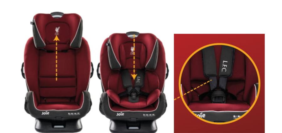 Joie Every Stage FX LFC Red Liverbird có dây cài an toàn 5 điểm, cùng hệ thống Grow Together™ giúp đệm đầu và dây an toàn có thể điều chỉnh cùng lúc mà không cần thắt chặt lại dây