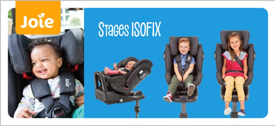 Ghế ngồi ô tô trẻ em Joie Stages ISOFIX Pavement - Tư thế quay về sau cho bé từ sơ sinh tới 18kg. Tư thế quay về trước cho bé từ 9 đến 25kg