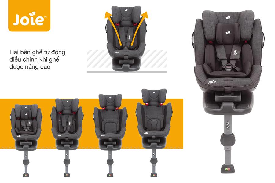 Joie Stages ISOFIX Pavement tự động điều chỉnh 2 bên ghế khi ghế được nâng cao
