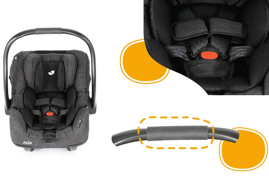 Ghế ngồi ô tô trẻ em Joie i-Gemm 2 Pavement có đai an toàn 5 điểm, tay cầm điều chỉnh đa góc độ, lót đệm mềm mại