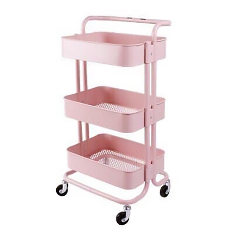 Kệ để đồ 3 tầng Trolly màu hồng