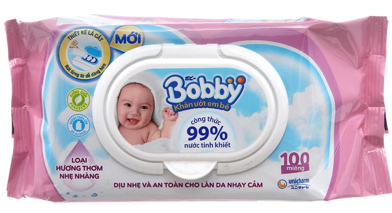 Khăn ướt em bé Bobby có mùi hương 100 miếng