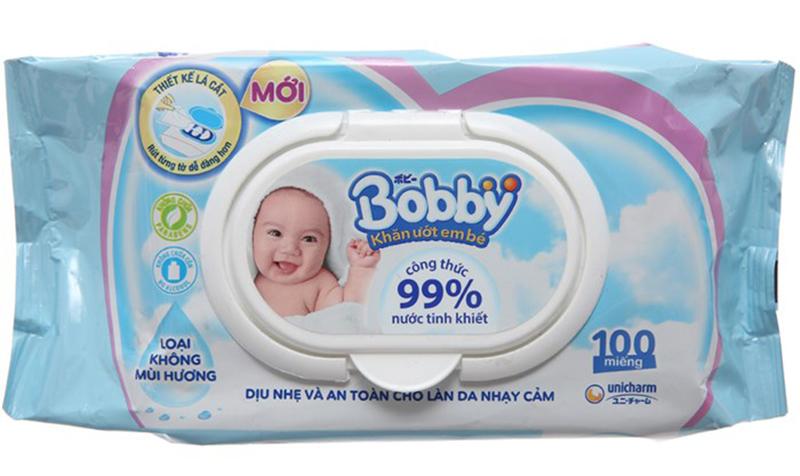 Khăn ướt em bé Bobby không hương 100 miếng