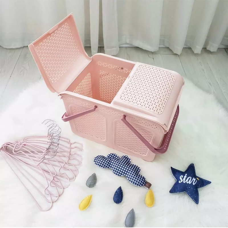 Làn nhựa Pomo có quai xách đa năng có nắp màu hồng