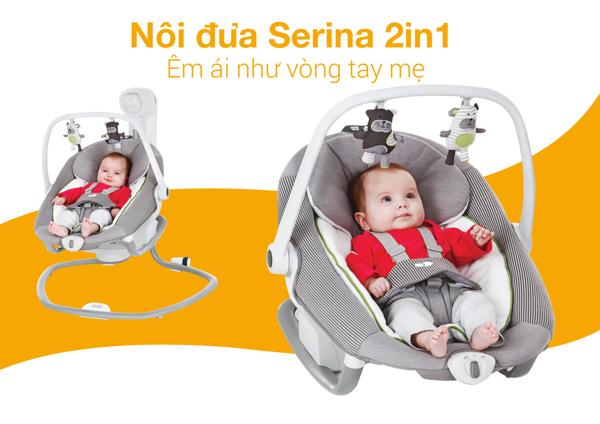 Nôi đưa trẻ em Joie Serina 2in1 Petite City
