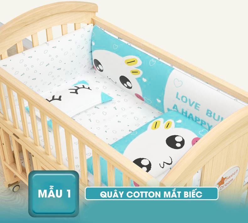 Nôi cũi em bé đa năng 6 chế độ Chilux NC1-1 (Trọn bộ cũi + quây đệm cotton + nệm xơ dừa)