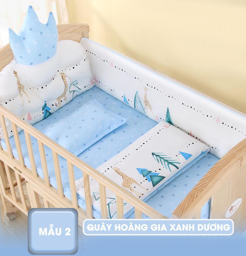 Nôi cũi em bé đa năng 6 chế độ Chilux NC2020-HG1 (Cũi + quây đệm hoàng gia)