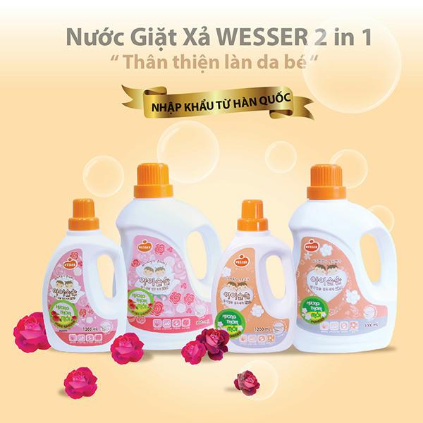 Nước giặt xả Wesser (2in1) hương Rose Garden (màu hồng) 3000ml