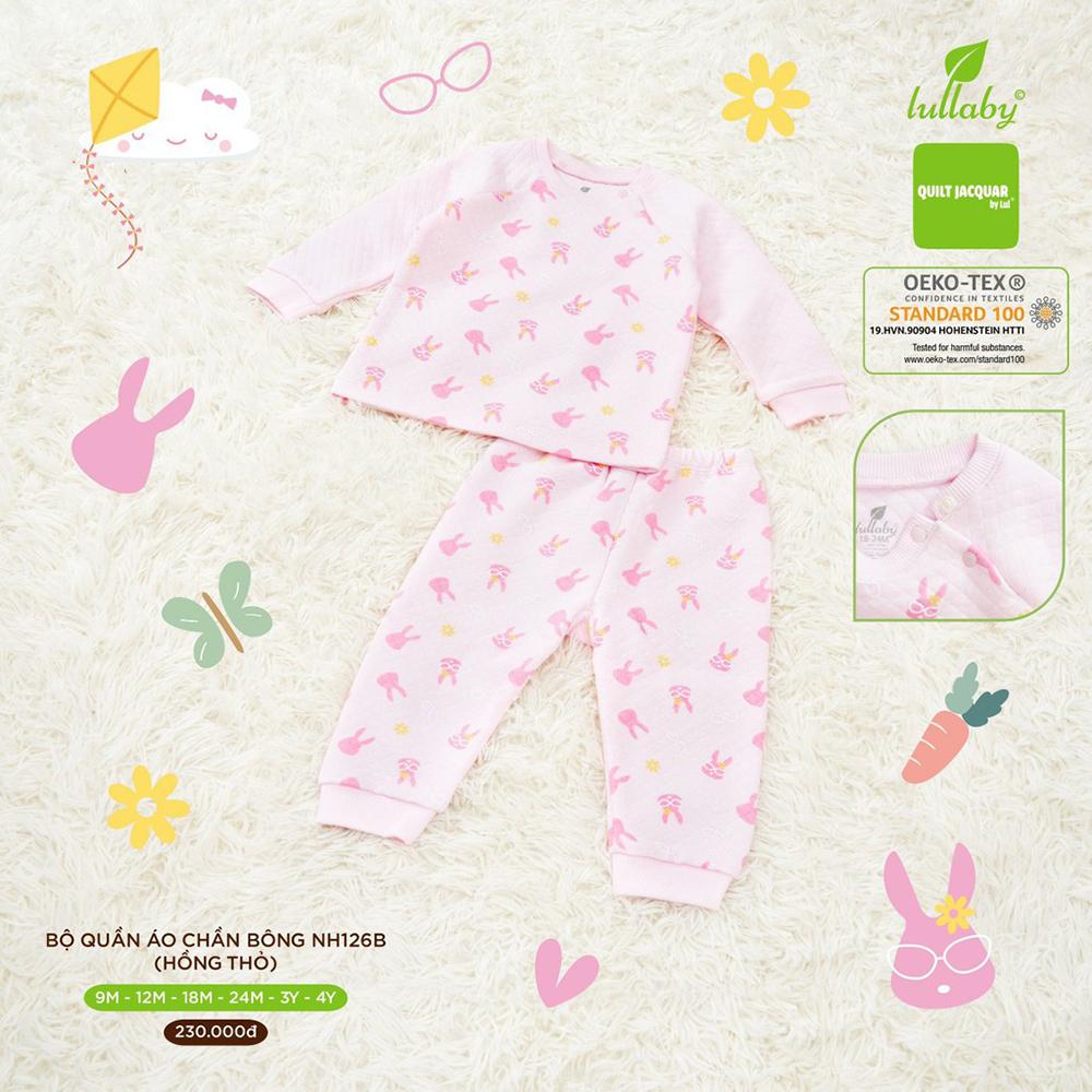 NH126B.1 - Bộ quần áo chần bông Lullaby màu hồng thỏ