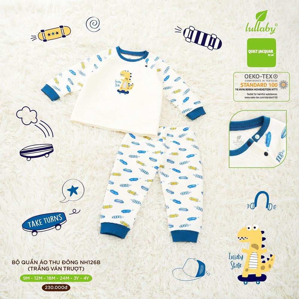 NH126B.2 - Bộ quần áo chần bông Lullaby màu trắng họa tiết ván trượt