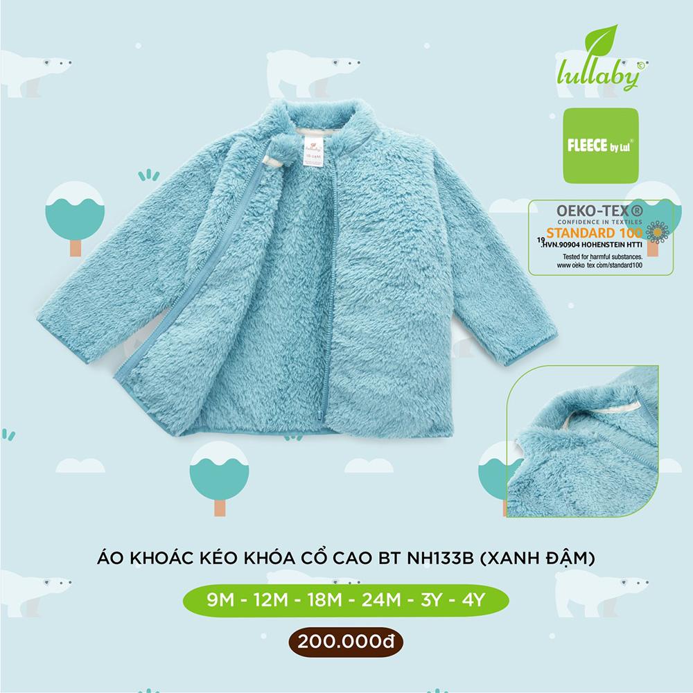 NH133B.2 - Áo khoác lông cho bé trai kéo khóa cổ cao Lullaby màu xanh đậm