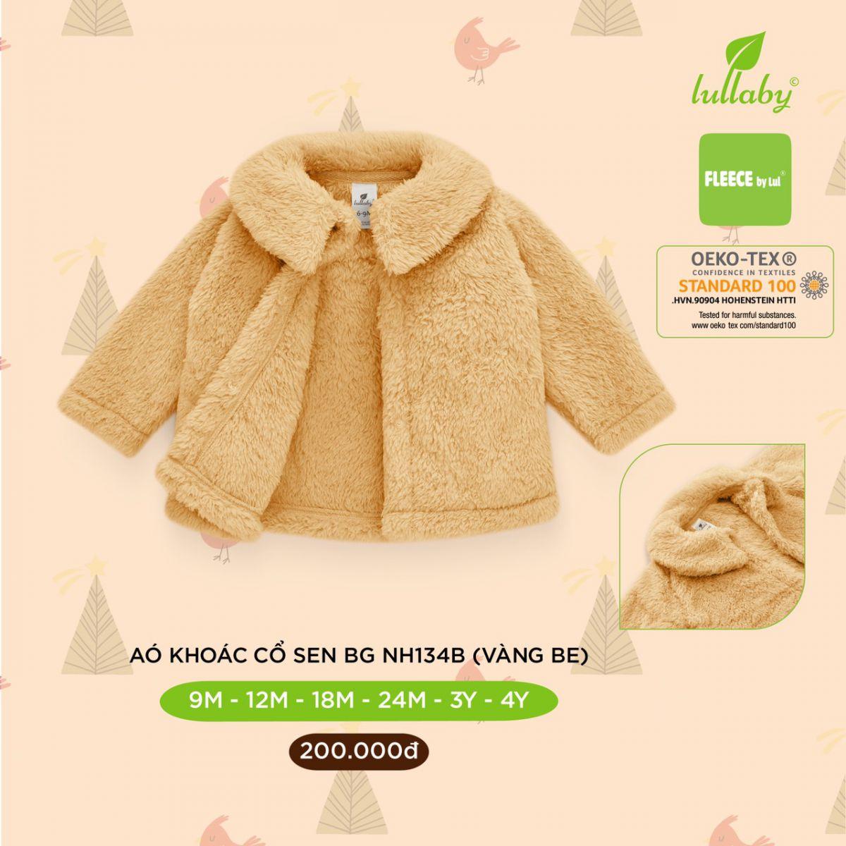 NH134B.1 - Áo khoác lông cho bé gái cổ sen Lullaby màu vàng be