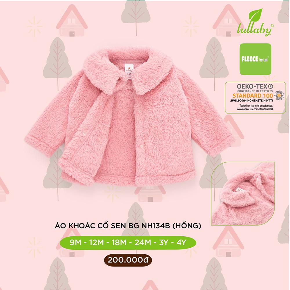 NH134B.2 - Áo khoác lông cho bé gái cổ sen Lullaby màu hồng