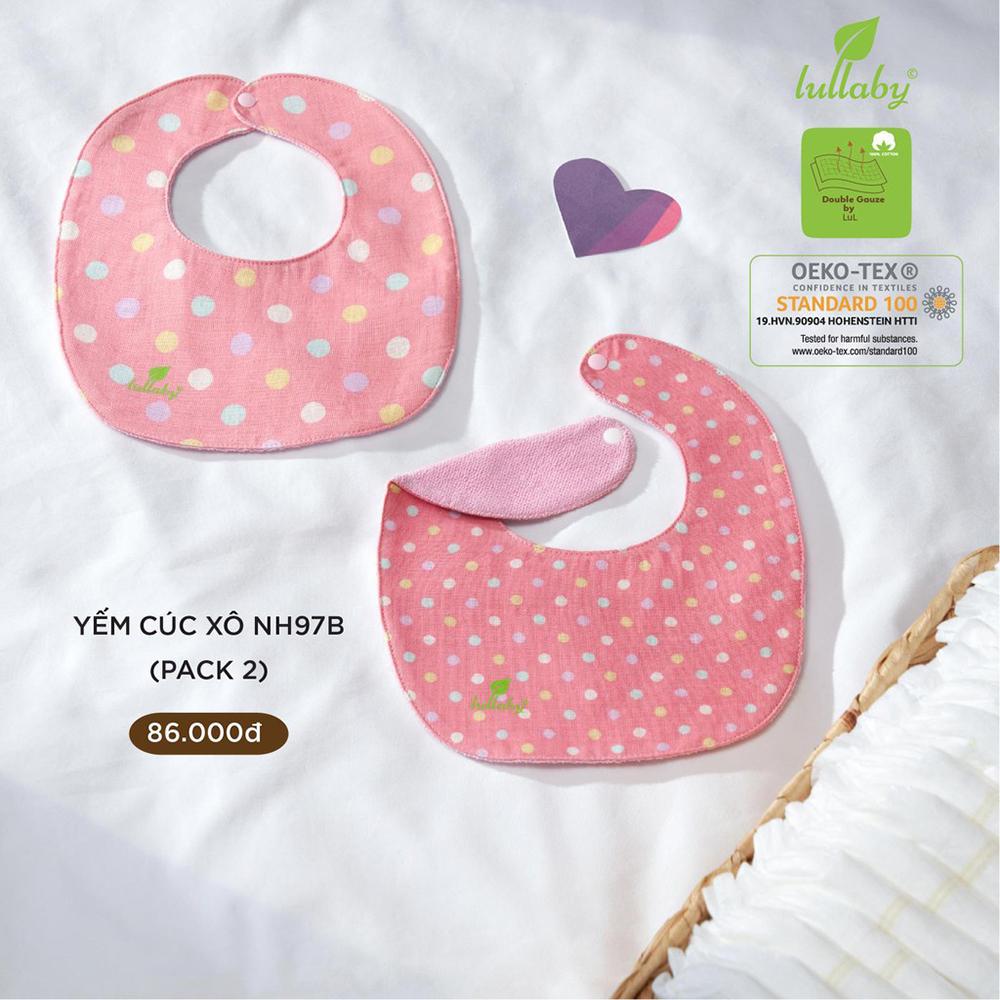 NH97B.1 - Set 2 yếm sơ sinh cúc bấm vải xô Lullaby màu hồng