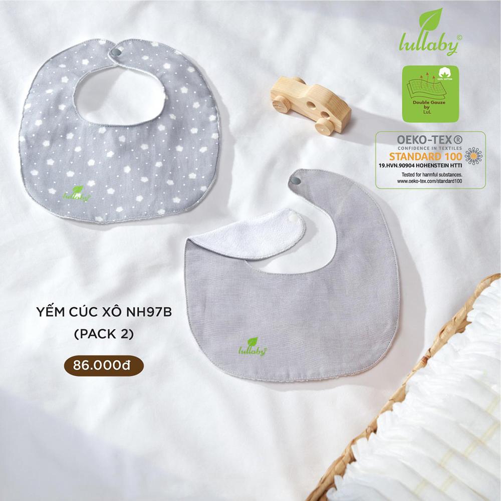 NH97B.2 - Set 2 yếm sơ sinh cúc bấm vải xô Lullaby màu ghi