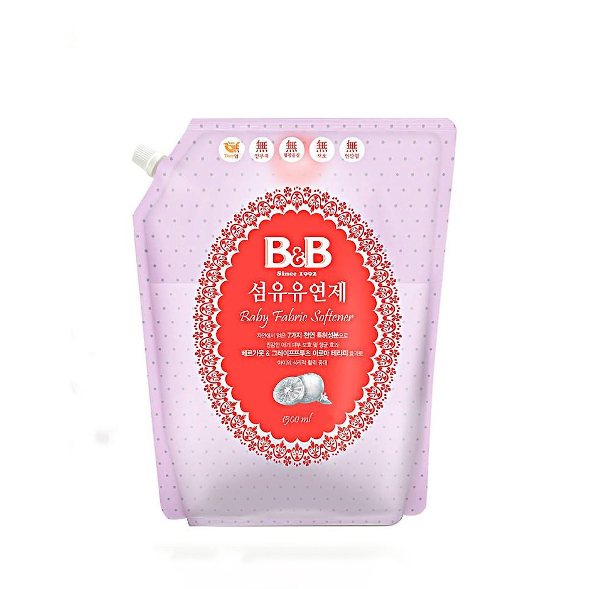 Nước xả vải dành cho bé B&B Bergamot hương cam - 1500ml