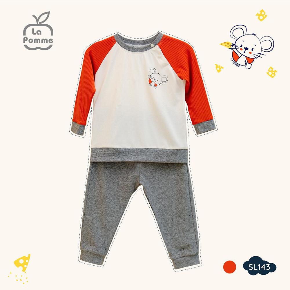 SL143.1 - Bộ quần áo dài tay Bambo La Pomme in hình Chú Chuột Tinh Nghịch - Trắng đỏ đô