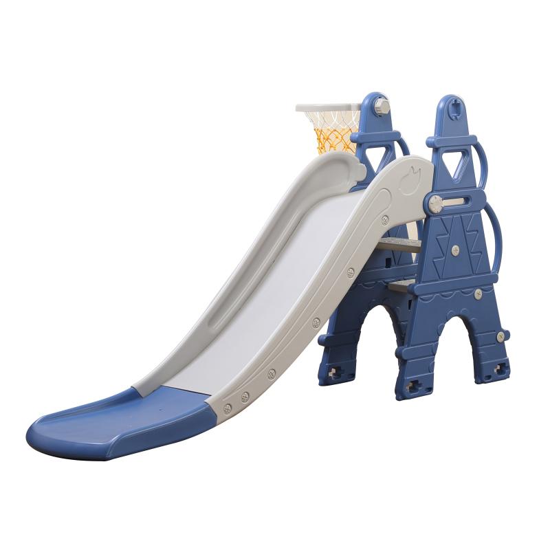 TH-052020-L-AFE01 - Cầu trượt cho bé hình tháp Eiffel, có kèm khung bóng rổ Toyshouse