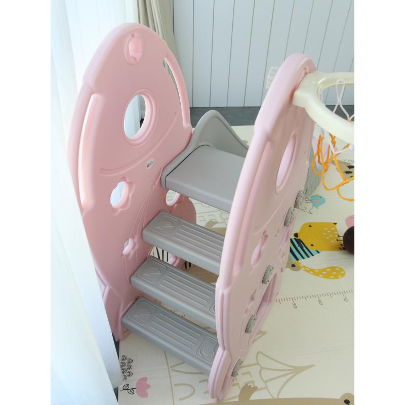 TH-052020-L-HJ05 - Cầu trượt cho bé hình tên lửa, có kèm khung bóng rổ Toyshouse - Màu hồng