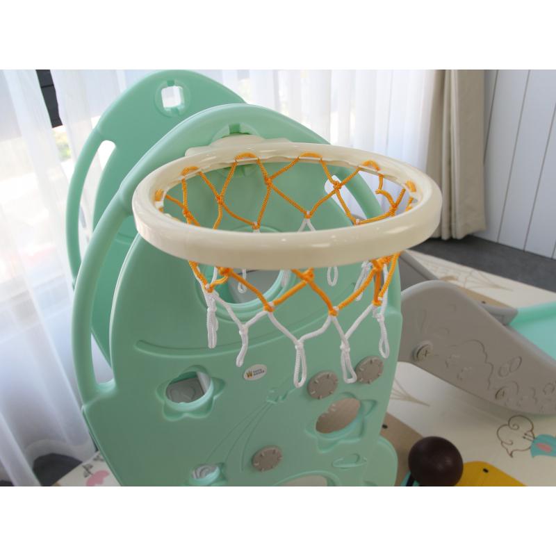 TH-052020-L-HJ05 - Cầu trượt cho bé hình tên lửa, có kèm khung bóng rổ Toyshouse - Màu xanh ngọc