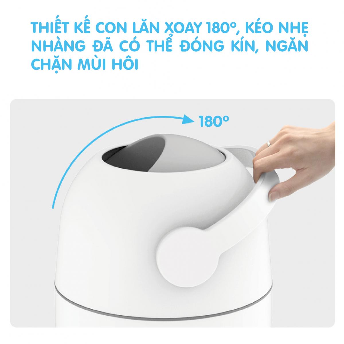 Thùng rác xử lý tã bỉm cho bé Pomo màu trắng