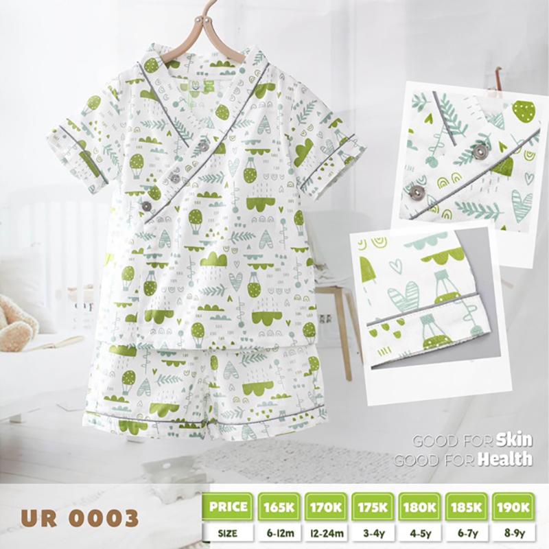UR0003.2 - Bộ Pijama cho bé - Màu xanh