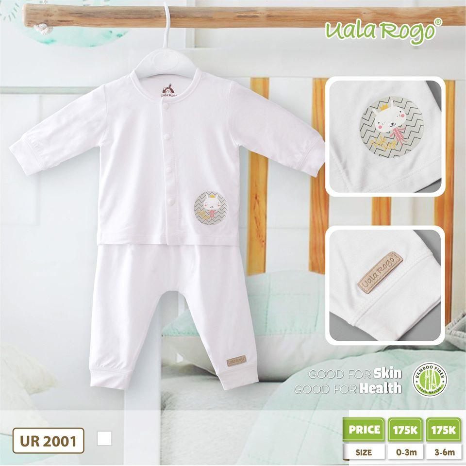 UR2001.2 - Bộ trắng dài tay cho bé Uala Rogo - Cún vàng