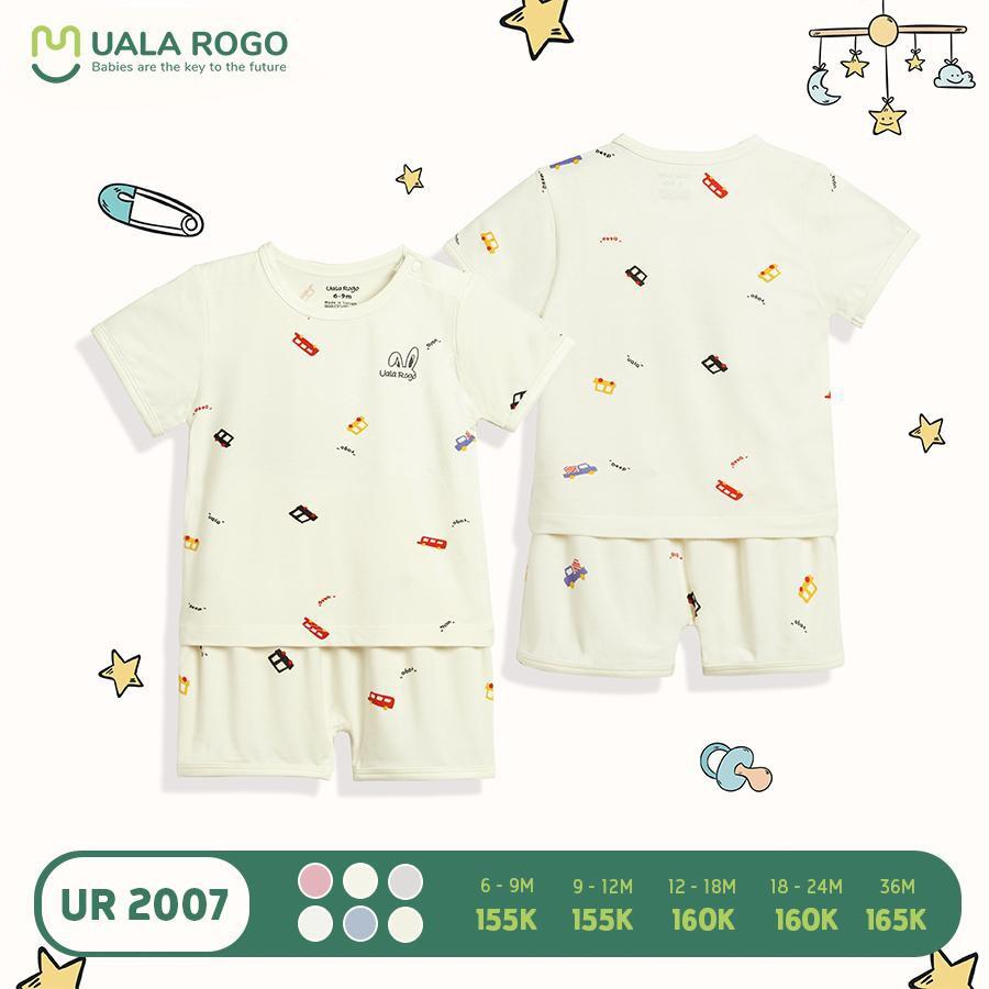 UR2007.4 - Bộ quần áo cộc tay Uala Rogo - Màu kem họa tiết ô tô