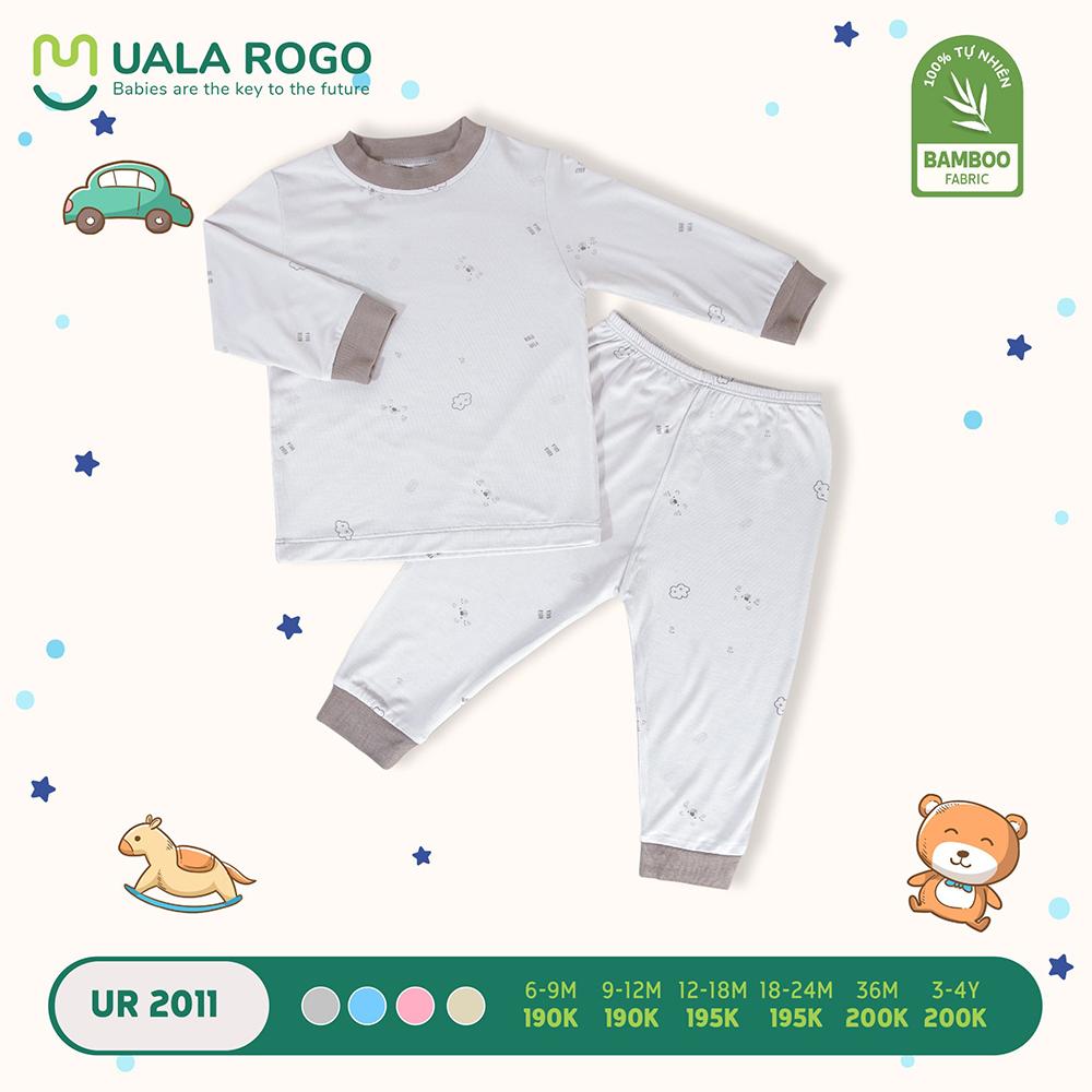 UR2011.2 - Bộ áo cổ lọ và quần giữ nhiệt vải sợi tre Uala Rogo - Trắng