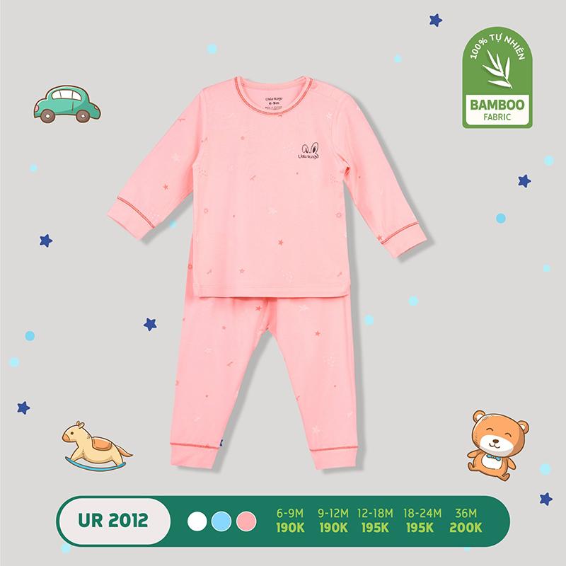 UR2012.2 - Bộ quần áo dài tay cài vai vải sợi tre Uala Rogo - Màu hồng